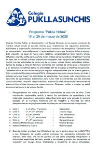 Comunicado - 01 Puklla virtual 18/3 al 29/03