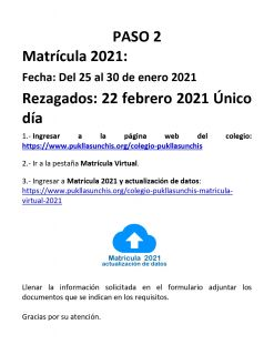 Instructivo Matricula Virtual 2021