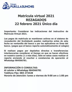 Matrícula virtual - REZAGADOS